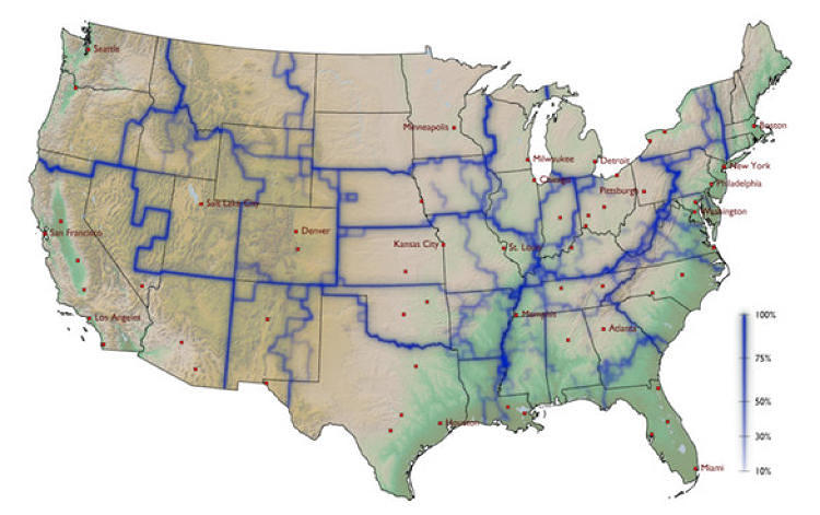 <p>Using a site that tracks dollar bills, a theoretical physicist noticed that our state boundaries are rather arbitrary, but <a href=&quot;http://www.fastcoexist.com/1681677/a-new-map-of-the-us-created-by-how-our-dollar-bills-move&quot; target=&quot;_self&quot;>that money tends to stay within new, more realistic boundaries.</a></p>
