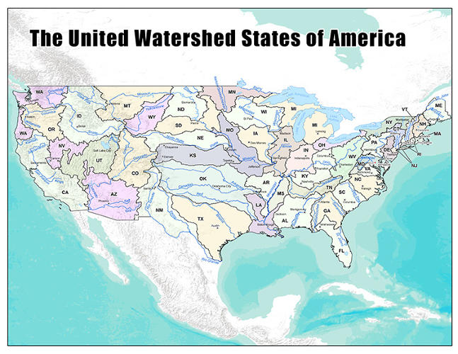 <p>Instead of fighting over water, what if each state's boundaries let it get water from one source? <a href=&quot;http://www.fastcoexist.com/3019858/visualized/a-new-map-of-the-us-created-from-where-we-get-our-water&quot; target=&quot;_self&quot;>Check out the Watershed States of America.</a></p>