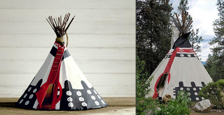 <p>For their first national ad campaign, Airbnb hired seven artists to create tiny birdhouse renditions of their 50 most intriguing listings worldwide. Here, Tipis and Historic Trails, British Columbia, Canada.</p>