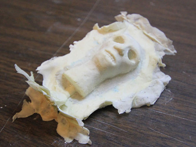 <p>This isn't a scene from the film, it's a shot of a puppet's head straight from the mould.</p>
