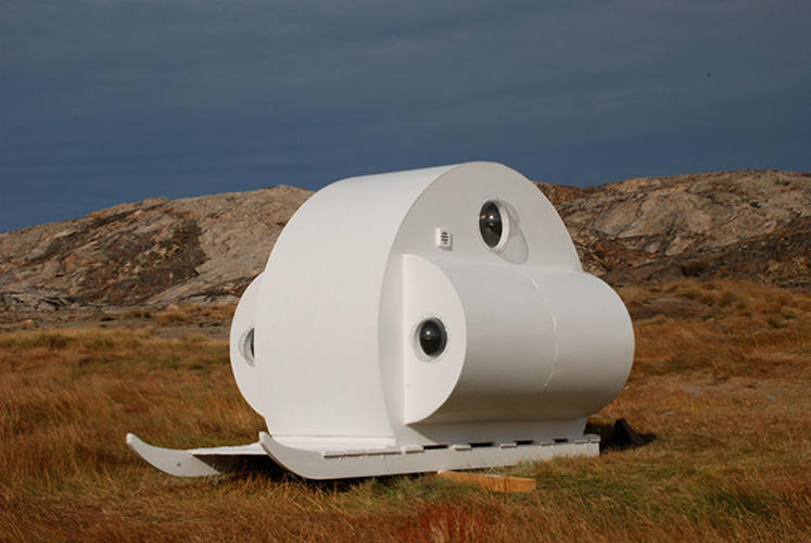 <p>This shelter is built on a sled. Perfect for a quick weekend vacation--if you live in Greenland.</p>