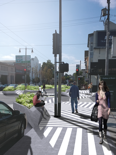 <p>Since making pedestrians stand closer to traffic also puts them at some risk, the curb extensions have high ridges to help give more protection.</p>