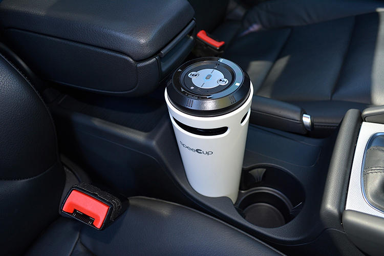 <p>The Spee Cup is a voice-controlled speaker that sits in a cupholder.</p>