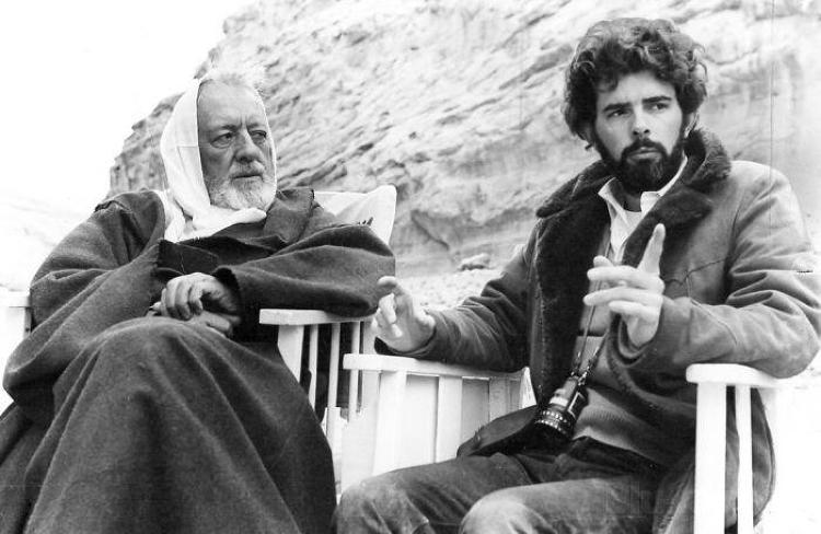 <p>George Lucas directs Sir Alec Guinness, collecting a paycheck.</p>