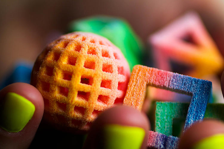 <p>The new 3-D printers created edible candy confections.</p>
