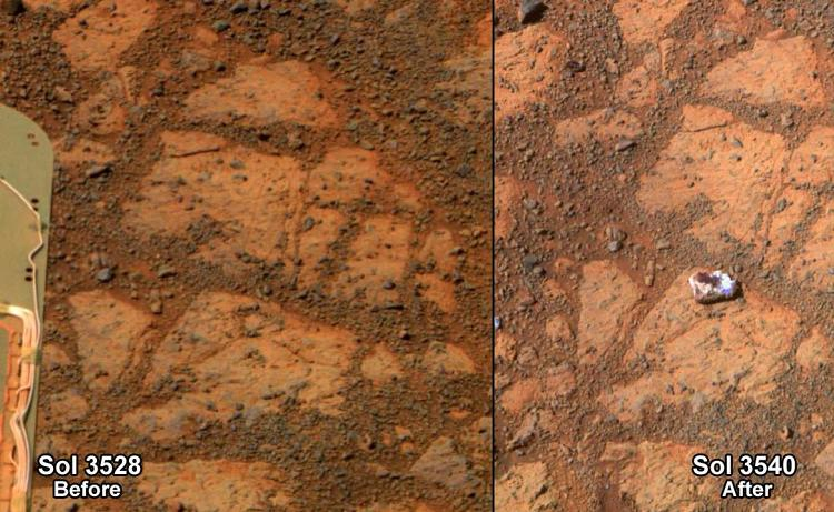 <p>Nicknamed Pinnacle Island, a fist-sized rock appeared in front of Opportunity early January 2014, puzzling NASA scientists. The image above shows the ground on Dec. 26, 2013, the 3,528th Martian day, or Sol, and Jan. 8, 2014, or Sol 3540.</p>