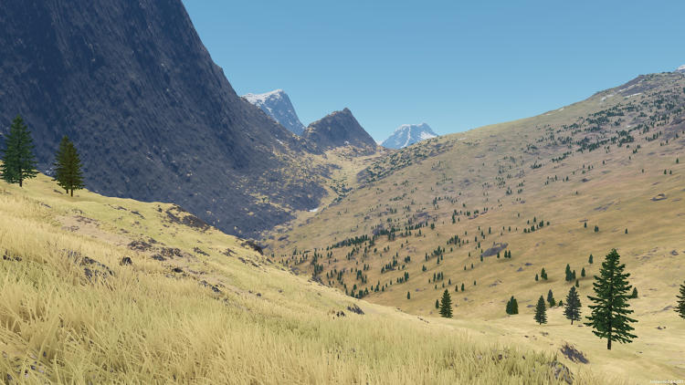 <p>It's all accomplished with <a href=&quot;http://demo.outerra.com/&quot; target=&quot;_blank&quot;>Outerra</a>, a middleware graphics engine that specializes in letting programmers model terrain, flora, and water using relatively sparse data sets through the use of fractals.</p>
