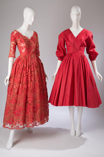 <p>The New Look: This trendy silhouette launched by French couturier Christian Dior's &quot;New Look&quot; collection (left), circa 1950, influenced American designers like Anne Fogarty (dress, right, circa 1954).</p>