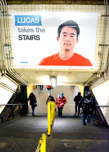 <p>He's the mustachioed man who stares at you from subway ads, never quite smiling, under a declaration of stuff he does: Lucas buys a round, Lucas takes the stairs, Lucas uses Venmo.</p>