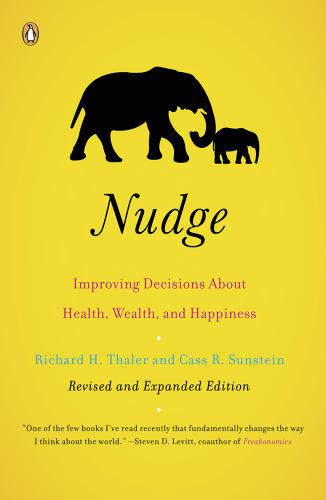 "<p><strong><em>Nudge: Improving Decisions About Health, Wealth, and Happiness</em> by Richard H. Thaler and Cass R. Sunstein</strong></p>  <p>Would you make the right choice more often if it were easier? What if the poor choice was harder to make--and you had to reach farther for a slice of pizza than a salad? Using examples from the world of public policy, the authors show how small ""nudges"" in human behavior can help improve individual and societal behaviors.</p>"