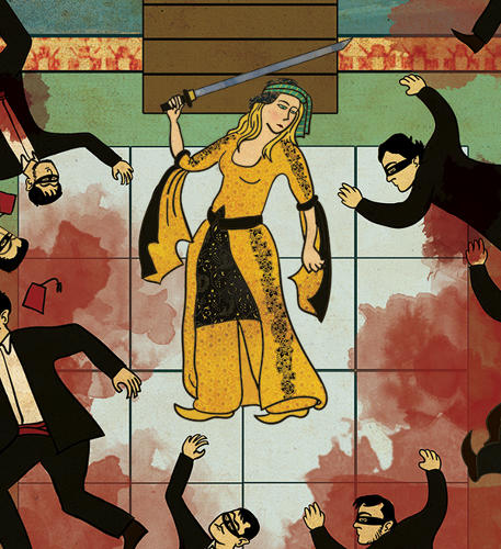 <p>Detail of Beatrix Kiddo after killing the Crazy 88 squad.</p>