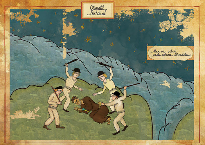 <p>Based in Istanbul, illustrator <a href=&quot;https://www.behance.net/gallery/Classic-Movies-in-Miniature-Style/4455311&quot; target=&quot;_blank&quot;>Murat Palta</a> reimagines scenes from classic Hollywood films as if they were illustrations from forgotten Ottoman manuscripts. Here's <em>A Clockwork Orange</em>.</p>