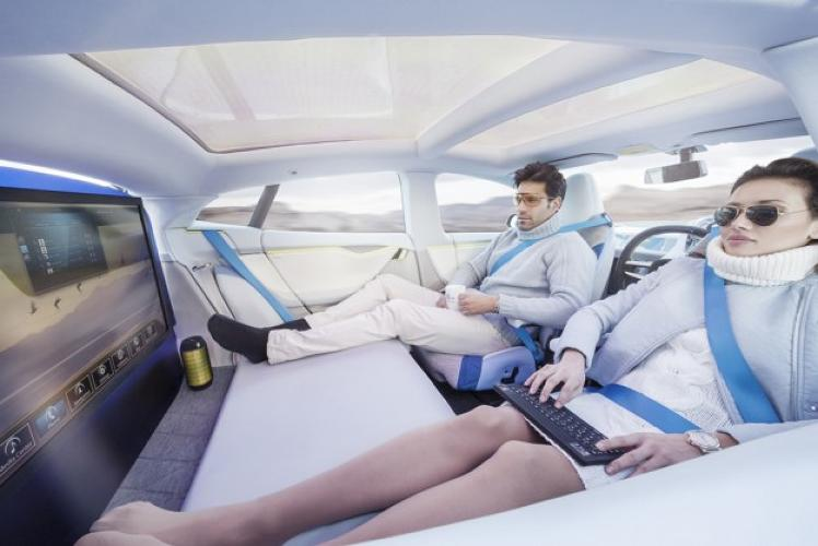 <p>&quot;How will the interior of a vehicle have to be designed to let the now largely unburdened driver make optimal use of the gain in time?&quot;</p>