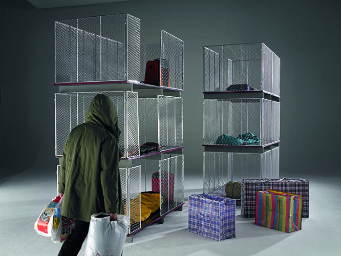 <p>Recognizing that many people, homeless or nomadic or other, choose to stay out of formal shelter systems, Baumann began designing tiny, temporary housing systems that could be packed up and carried around more than decade ago. &quot;IH Cageman 1800 HK,&quot; © Winfried Baumann, Photo: Elmar Hahn</p>