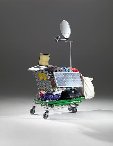 <p>Artist Winfried Baumann's &quot;Instant Housing&quot; pieces imagine a future in which people can live comfortable nomadic urban lifestyles. &quot;IH Shopping Cart NETTO,&quot; © Winfried Baumann, Photo: Elmar Hahn</p>