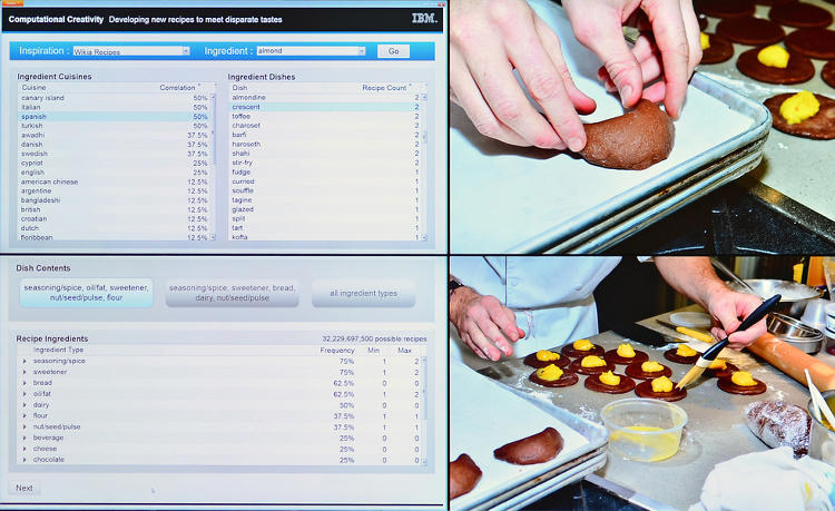 "<p>Designing a recipe for Spanish Almond Crescents. The goal of this research is to push computing to new fields of creativity and demonstrate this with novel, high-quality food combinations. A former pastry chef at Michelin-star-collecting Le Bernardin, Watson's Michael Laiskonis says: ""The more the database grows, the more interesting this gets. I've already started to change my outlook just based on the experiences I've had with the system.""</p>"