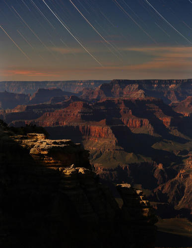 <p>The Grand Canyon's Mather Point in moonlight. &quot;Over two hours stars slowly set across the canyon as seen from Grand Canyon's south rim,&quot; Nordgren says.</p>