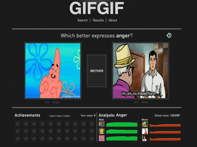 <p>By going to the site, users are presented with two GIFs randomly plucked from a library of thousands, then asked which better expresses certain emotive concepts like guilt, relief, anger, and more.</p>