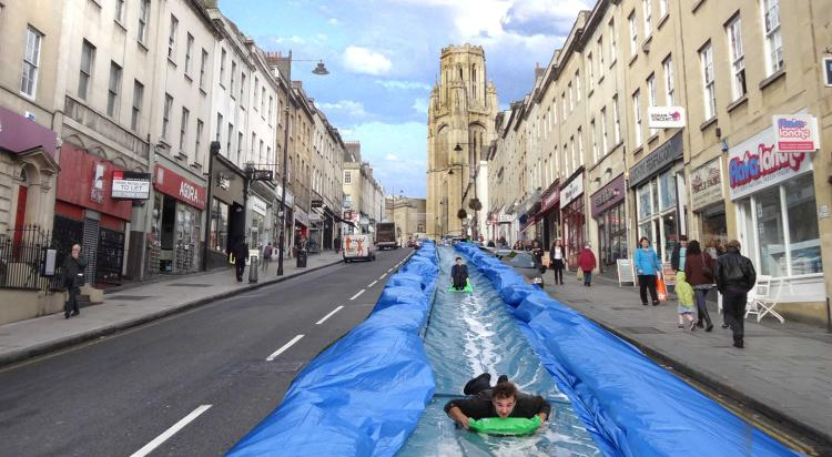 <p>This 300-foot water slide will be constructed down Park Street, in Bristol, England.</p>