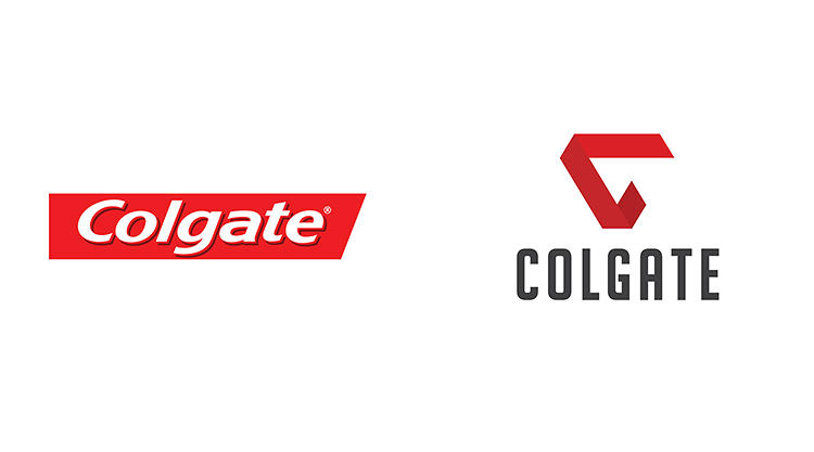 <p>She's also put a new spin on the red-and-white Colgate logo, repurposing that strip of red behind the Colgate lettering into a folded, triangular ribbon icon.</p>