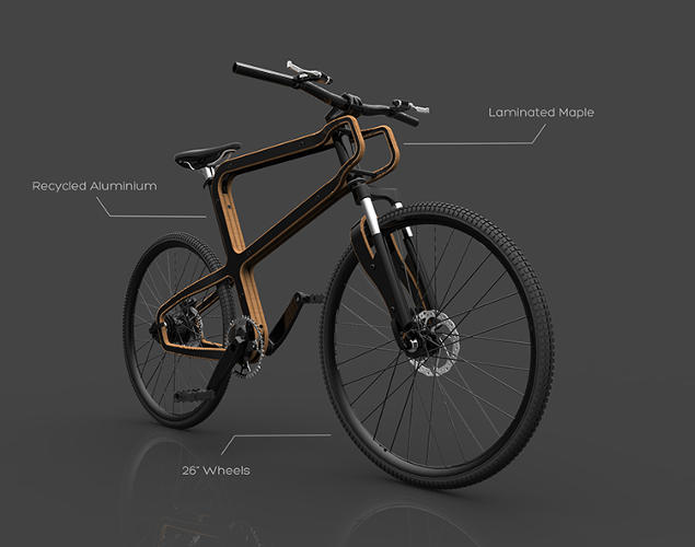 <p>The design uses sustainably grown wood everywhere possible, and the remaining metal pieces will be made from recycled aluminum or, potentially, metal recycled from discarded bikes.</p>