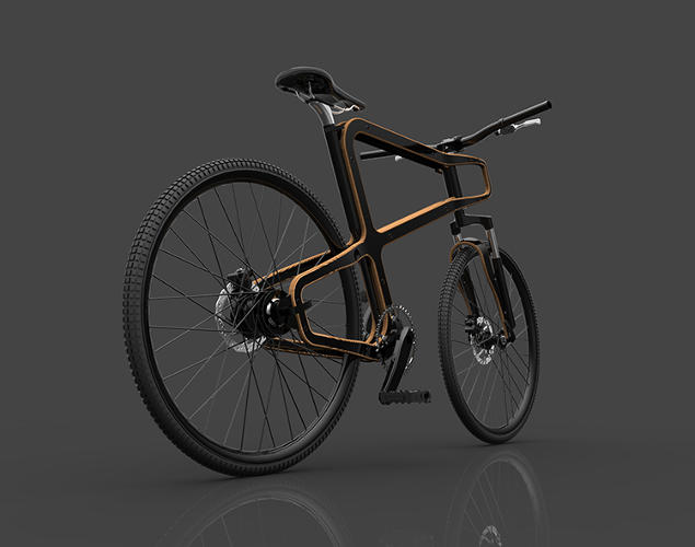 <p>This new design concept swaps out a standard metal frame for wood and uses components made from recycled soda cans.</p>