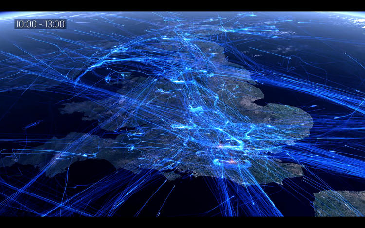 <p>This video from the U.K.'s National Air Traffic Services shows each flight over a 24-hour period in a mesmerizing net of glowing blue lines.</p>