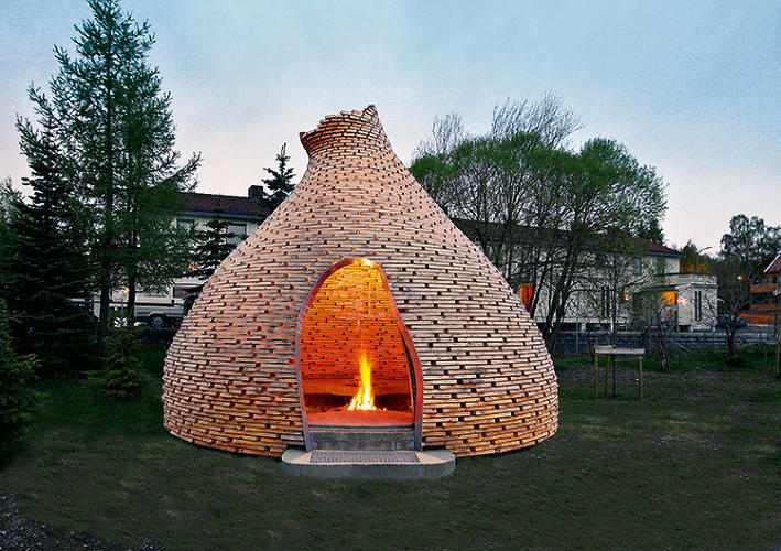<p>Designed for Trondheim kindergartners, this Hershey's Kiss-shaped fireplace is made from repurposed scrap wood. Schoolchildren learn while sitting around its glowing hearth. Haugan/Zohar Arkitekter modeled the structure after traditional Norwegian huts.</p>