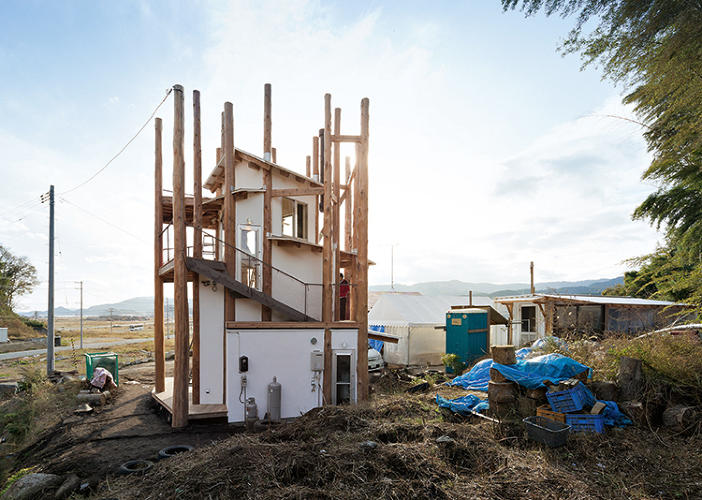 <p>The Home-for-All was intended as a refuge for those hit by the 2011 tsunami in Japan. It was built on the Sanriku Coast in Rikuzentakata, which was 70% destroyed by the earthquake. The 32-foot-tall structure is made largely of Japanese cedar, and spirals upward, adorned with trunk-like turrets of wood.</p>