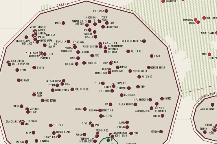 <p>Because some areas are so densely packed, they've created zoomed-out pockets with different color-coding to help visitors pick out the exact location of smaller wineries.</p>