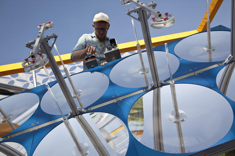 <p>University of Colorado Boulder was one of the 49 exhibitors at 'Reinvent the Toilet Fair: India'. Their prototype, the 'Sol-Char Toilet', uses concentrated solar energy to transform human waste into commercially viable products such as solid fuel, heat and fertilizer.</p>