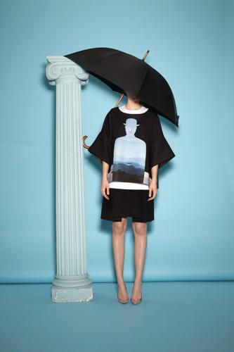 <p>Classic Magritte motifs--bowler hats, umbrellas, green apples, and roses--abound in these pieces.</p>