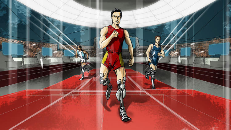 <p>The powered leg prosthetics race, for athletes with &quot;transfemoral amputation.&quot;</p>
