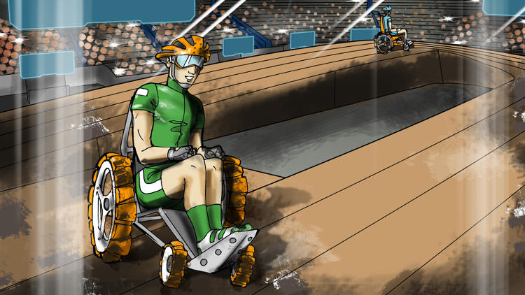 <p>In the powered wheelchair race, competitors will encounter ramps, a sand and gravel pit, and other obstacles.</p>