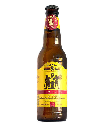 <p>Glaser seems to like the similar red-on-yellow color schemes of Omegang's Witte and Spoetzl's Shiner Bock labels.</p>