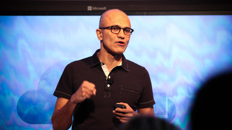 <p>Microsoft CEO Satya Nadella on stage in San Francisco introducing Office for iPad. &quot;It's a beautiful set of applications,&quot; he said.</p>