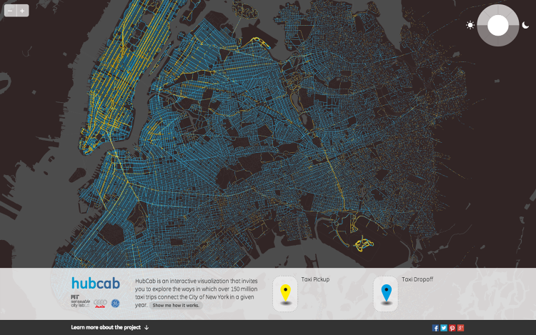 <p>Researchers at the MIT Senseable City Lab have mapped out every single New York taxi trip from 2011.</p>