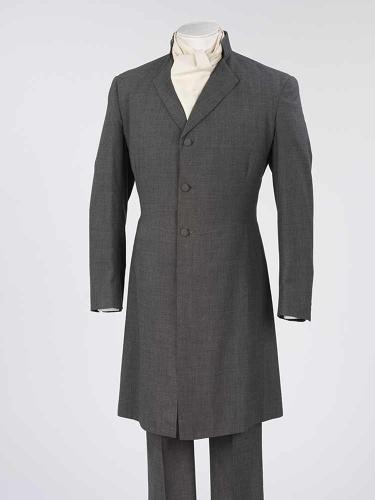 <p>When it comes to clothing, brides have always had more fun (or stress, depending how you look at it). Wool frock coat and trousers, designed by Mr. Fish, London, 1967 Worn by Charles Evelyn Penn Lucas to marry Antoinette von Westenholz.</p>