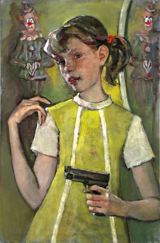 <p>Mike Cockrill writes, &quot;In the urban legend that recounts the story of a baby sitter<br /> unwittingly alone in a bedroom with a clown pretending to be a statue, I was struck by how frightening it is for both (characters). In my version of the drama, the unconvinced girl wields a Glock revolver and practically winks at the viewer as she prepares to turn towards the clown. The terrified clown can only hope she fires at his reflection in the mirror, buying him time to slip away amid the confusion of a gunshot and shattering glass.&quot;</p>