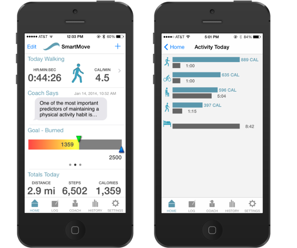 <p>The app summarizes the user's day by breaking down calories burned by activity.</p>