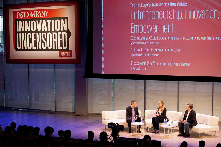 <p>The conference opened with <em>Fast Company</em> editor-in-chief Robert Safian interviewing Chelsea Clinton--<a href=&quot;http://www.fastcompany.com/3028155/chelsea-clinton-makes-her-move&quot; target=&quot;_self&quot;>this month's cover story subject</a>--and <a href=&quot;http://www.fastcompany.com/3028875/most-creative-people/born-from-a-tweet-etsys-new-entrepreneurship-program-could-be-coming-to&quot; target=&quot;_self&quot;>Etsy</a> CEO Chad Dickerson about innovation and empowerment.</p>