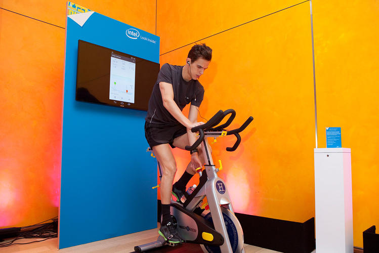 <p>This dude, brought to you by Intel, spent the entire conference cycling in order to show off the powers of wearable tech.</p>