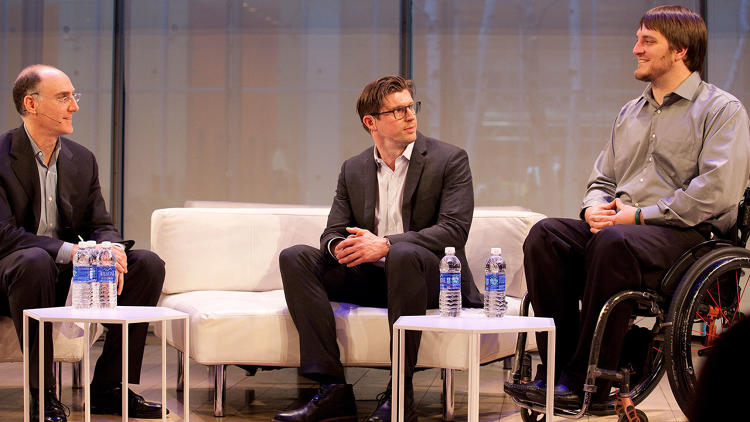<p>After a moving video, Matthew Reeve (of the Christopher and Dana Reeve Foundation) and Kent Stephenson discussed the <a href=&quot;http://www.fastcoexist.com/3028720/healthware/how-a-new-technology-is-helping-paralyzed-patients-regain-use-of-their-legs&quot; target=&quot;_self&quot;>ground-breaking technology</a> helping paralyzed patients regain use of their legs.</p>