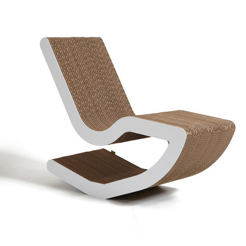 <p>Italian design group <a href=&quot;http://www.kubedesign.it/it/default.html&quot; target=&quot;_blank&quot;>Kubedesign</a>'s preferred material is cardboard, because it can be recycled and biodegrade. Their new chair, here, echoes the vibe of Frank Gehry's famous <a href=&quot;http://www.vitra.com/en-us/product/wiggle-side-chair&quot; target=&quot;_blank&quot;>Wiggle chair</a> for Vitra.</p>