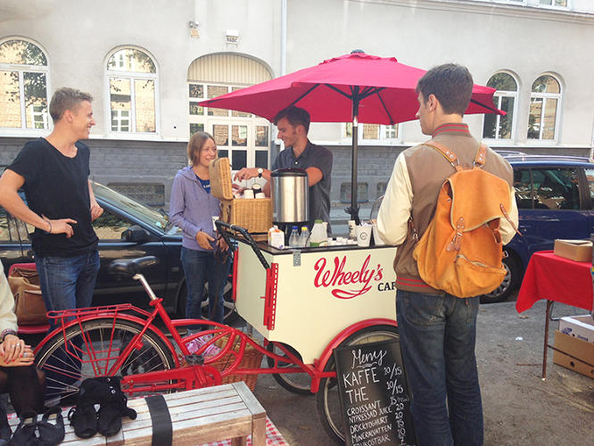 <p>For an early-bird price of $1,800 on Indiegogo, someone can get an entire Wheely's Cafe: A bike with a solar-powered battery to run a coffeemaker, a sink, storage, and an umbrella to protect customers from the sun and rain.</p>