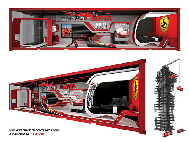 <p>A company like Ferrari might sponsor a room and outfit it inside and out.</p>