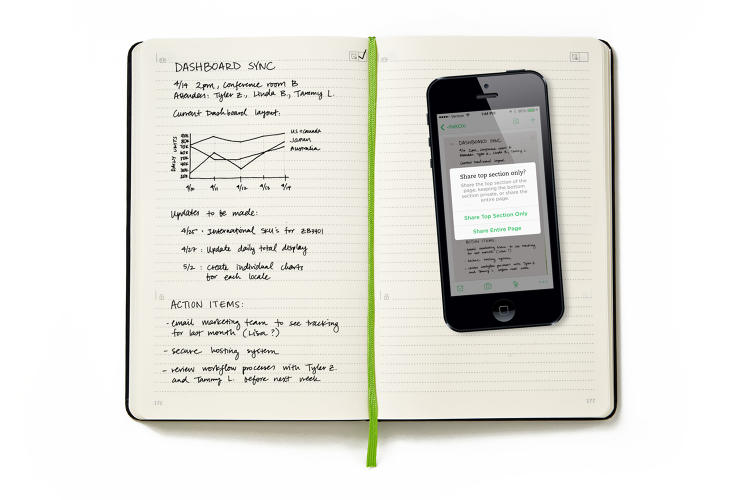 <p>When users take a picture of their notes on the Evernote Business Notebook, the app automatically adjusts the contrast, digitizes the notes, and syncs them across devices.</p>
