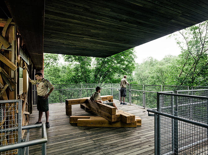 "<p>A new ""treehouse"" for the Boy Scouts, with spectacular views of a nature preserve, uses solar and wind power and a 1,000-gallon cistern to become a net-zero energy and net-zero water center. <a href=&quot;http://mithun.com/&quot; target=&quot;_blank&quot;>Mithun</a> and <a href=&quot;http://www.bnim.com/&quot; target=&quot;_blank&quot;>BNIM</a></p>"
