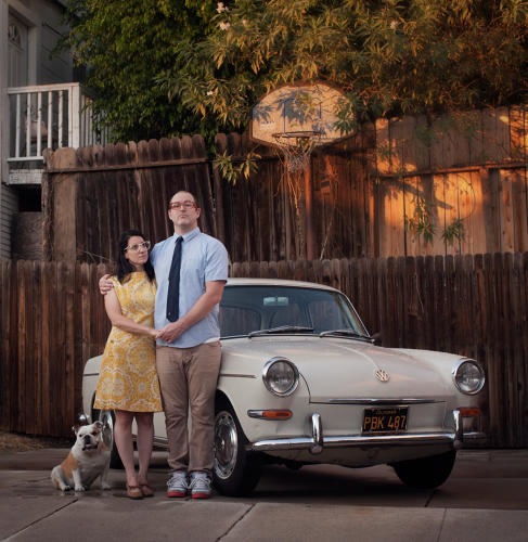 <p>Emily Shur, Isaac Walter, and the Baroness with their 1964 Volkswagen 1500s Notchback. Echo Park, L.A.</p>