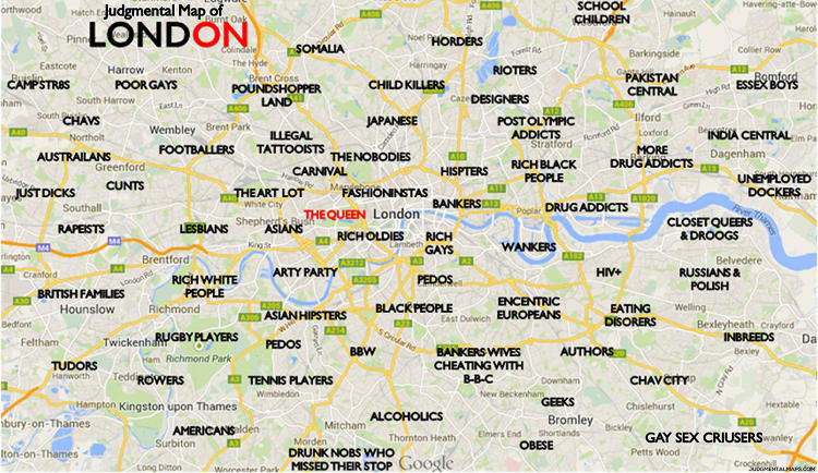 <p>Comedian Trent Gillaspie began by making a judgmental map of his hometown, Denver. Here, London.</p>
